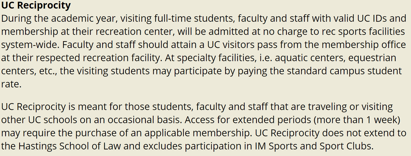 UCSB Students get to gym at other UC schools